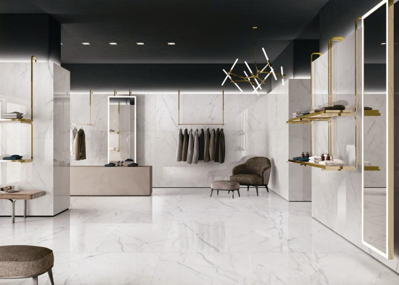 carrara marble floor tile on produce