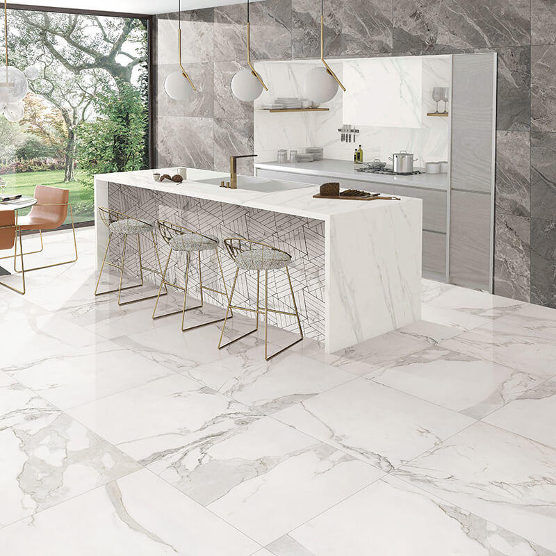 Honed White Carrara Marble Tile 12x24