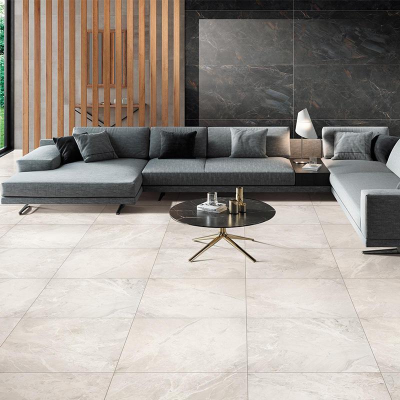 Porcelain tile 24x24 Breccia stone light grey marble tile