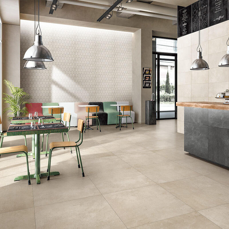 Cream beige dry particle morden tile 600x600mm non slip kitchen tile