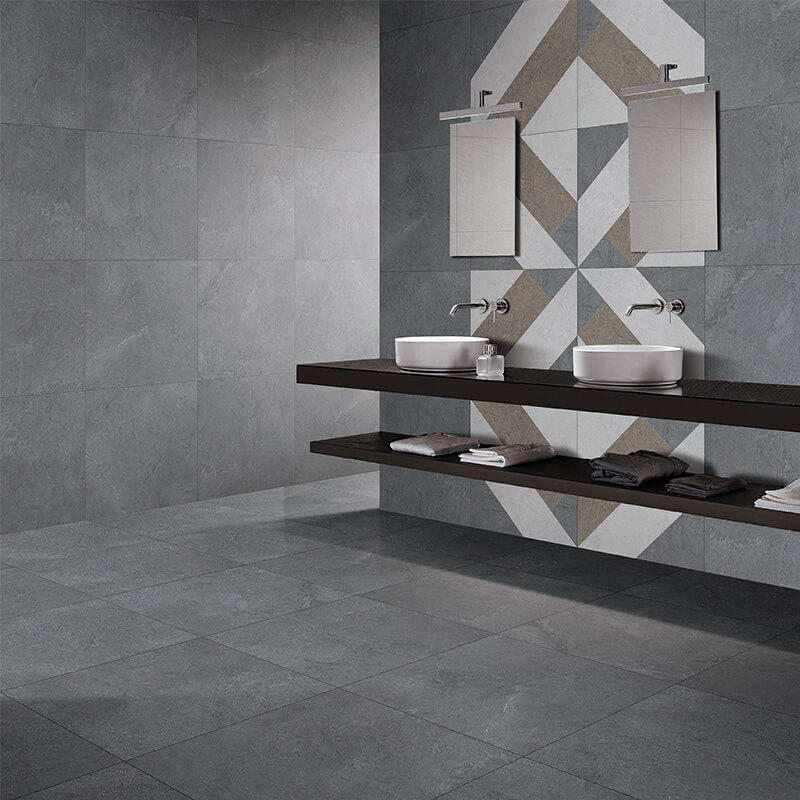 Grey color marble stone cement mix modern tile, anti slip bathroom tile