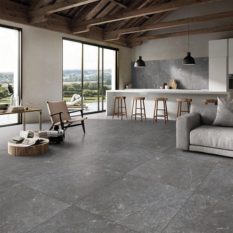 Black color high quality stain proof morden floor tile new style home floor 24x24