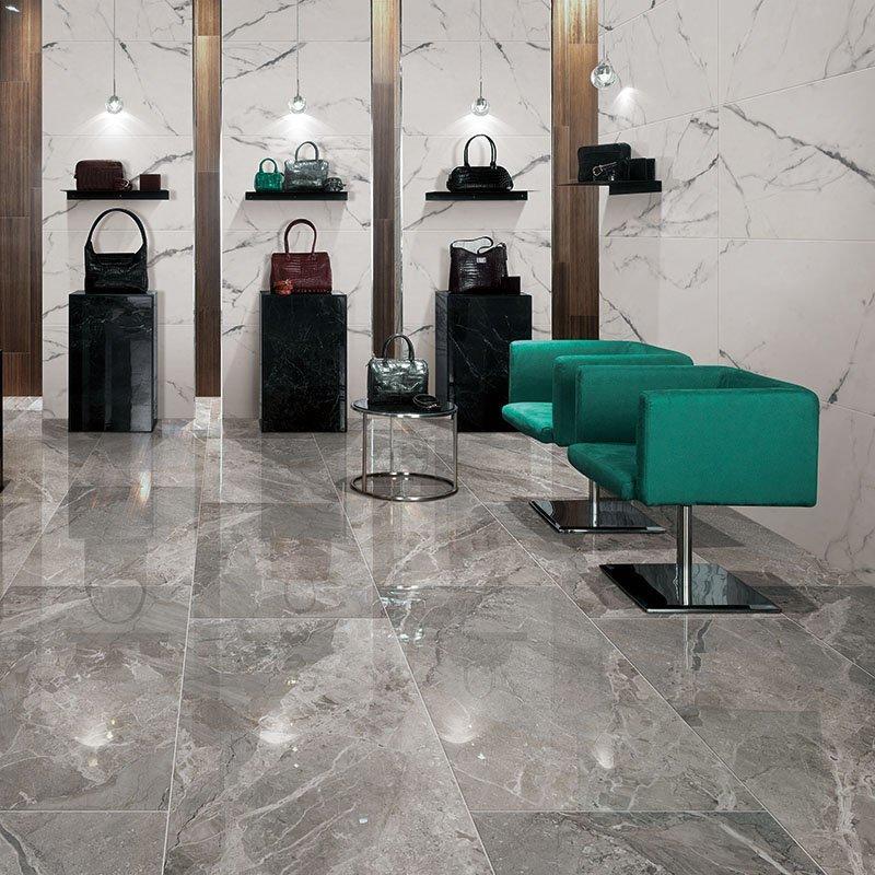 Breccia stone dark grey italy marble look porcelain tile flooring 24x48  Breccia stone dark grey FP8126B03