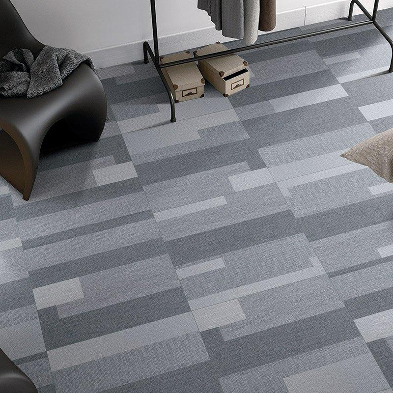 Plato light grey color carpet tiles for play room linen look tile plato light grey color F60291