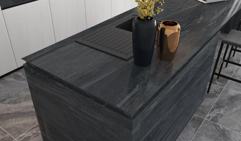 800*2600mm Big Size Tiles Black Marble Floors Porcelain Tile