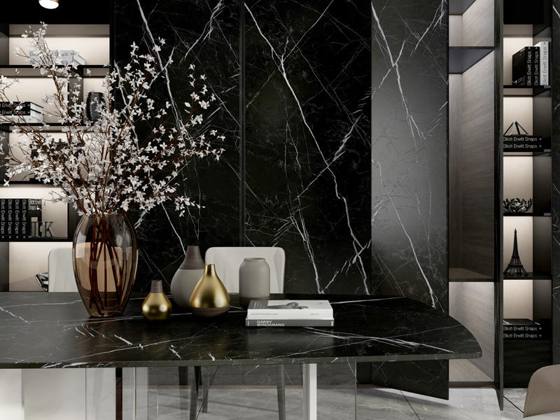 800*2600mm Big Size Black Porcelain Tile Look Like Marble Flooring