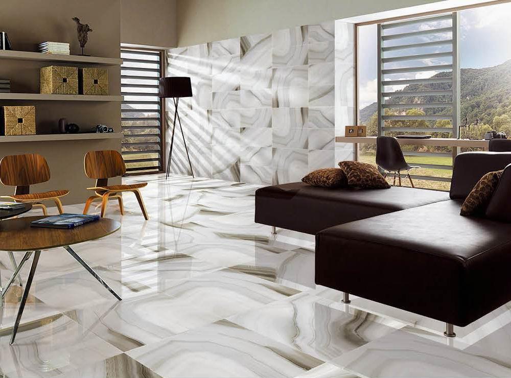 600 x 600mm Agate Grey Look Ceramic Marble Tile for Floor